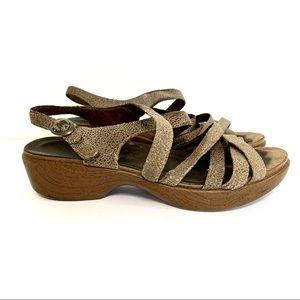 Dansko Leather Wooden Clog Strappy Sandals